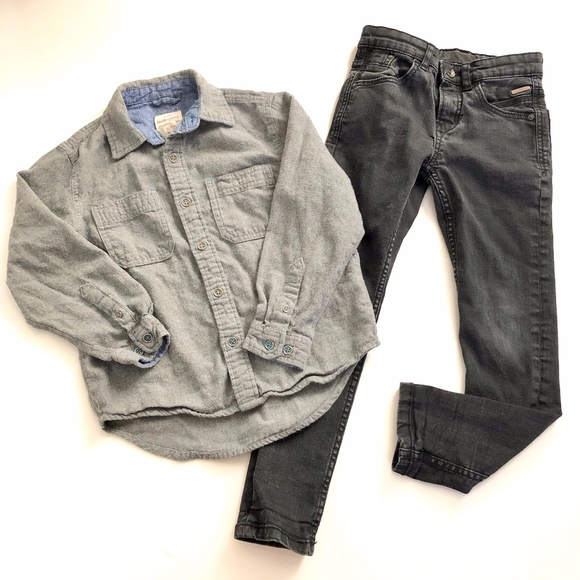 ZARA /& PLACE BOYS 2PC BLACK OUTFIT SWEATER /& CORDUROY DRESS SLIM PANTS SIZE 7-8Y